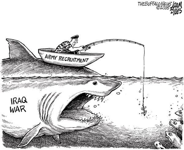 Iraq war recruitment, cartoon