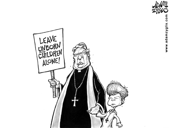 Vatican opposes abortion for a steady supply of targets? (cartoonist - Adam Zyglis; cartoon courtesy - www.adamzyglis.com.). Click for larger and original image.