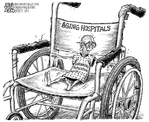 An aging population adds a few more wrinkles of complications to an already difficult scenario.|   Cartoon by Adam Zyglis; published July 22, 2007 : Titled - shrinking; source and courtesy  - adamzyglis.com   |  Click for larger image.
